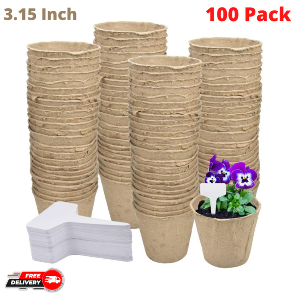 100 Pack Biodegradable Peat Pots 3.15 Inch Transplant Paper Pulp Seeding Cups $14.99