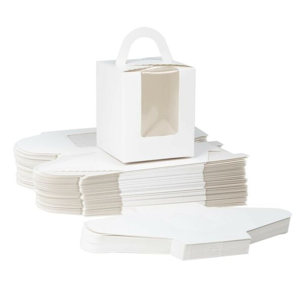 White 50 PCS Paper Cupcake Boxes White Single Cupcake Carrier with Handle and...