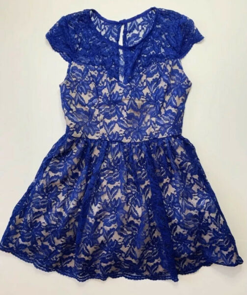 B. Darlin Floral Lace Formal Prom Cocktail Dress Cap Sleeves Blue Size 13 14