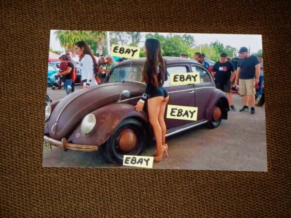 Vintage 4X6 Photo 1950#x27;s Volkwagen Beetle With Patina amp; Woman In Cheeky Shorts
