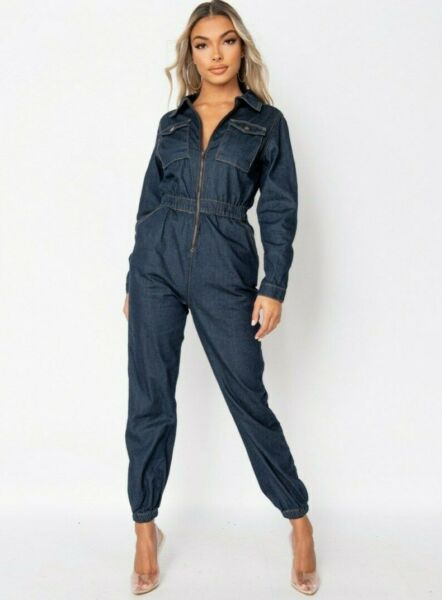 Women Denim Jeans Utility Jumpsuit Long Sleeve Loose Boiler Suit Romper Playsuit $44.10