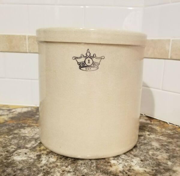 ANIQUE VINTAGE ROBINSON RANSBOTTOM 1 GALLON BLUE CROWN CROCK
