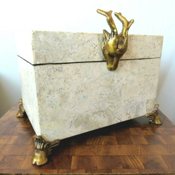 Vintage Maitland Smith Tessellated Marble Large Box w Stag#x27;s Head amp; Feet 12 x 9