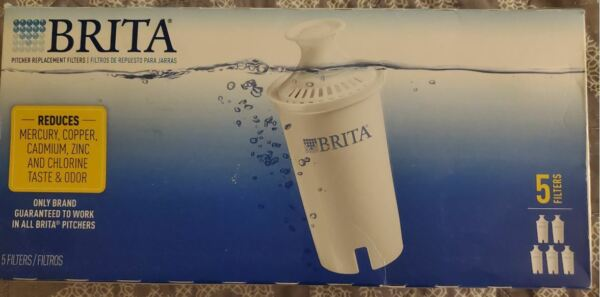 New Brita 5 Filter Pack Pitcher Replacement Filter New