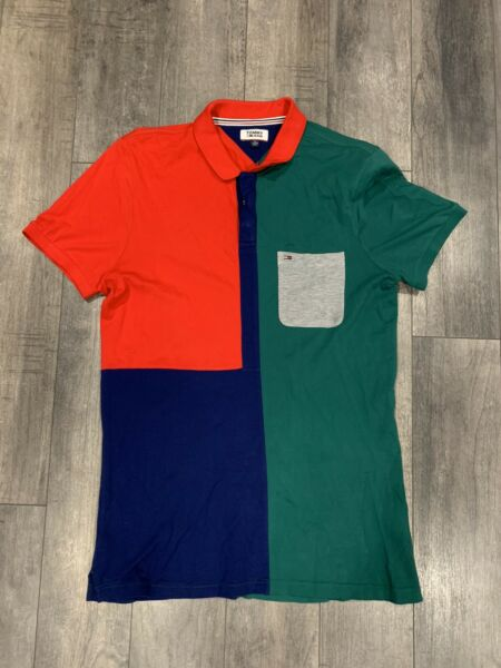 Tommy Hilfiger Tommy Jeans Color Block Spell Out Polo Shirt Mens Size XXL $19.99