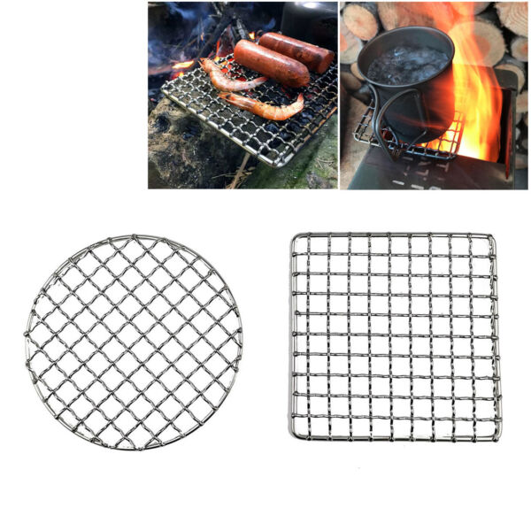 2Pc Camping Barbecue Grill Camp Fire Cooking Rack Grate Outdoor BBQ Grill Basket