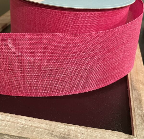 """Solid Pink Burlap BTY Ribbon Wired Edge 2.5"""" x 5 Yards Wreath Bows Crafts NEW"""