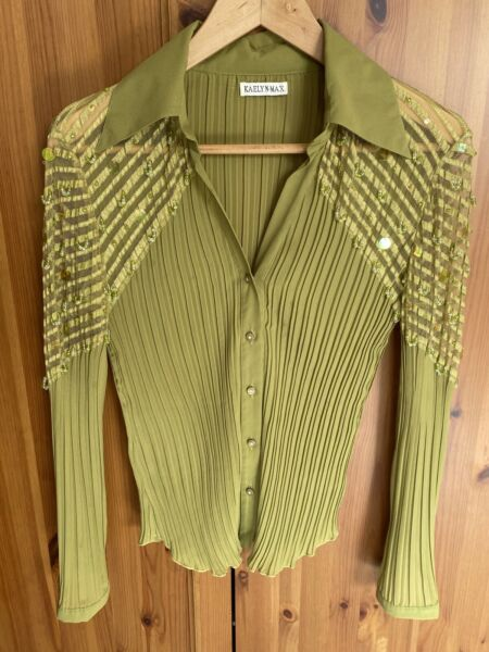 Y2K Green Crinkle Blouse sequin beaded lace shoulder Button Up Sz Small stretchy