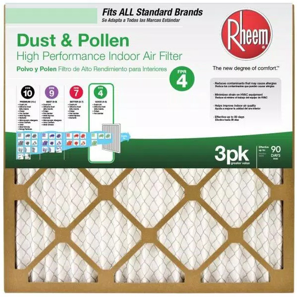Rheem 16 in. x 25 in. x 1 in. Basic Household Pleated FPR 4 Air Filter 12 PACK $49.99