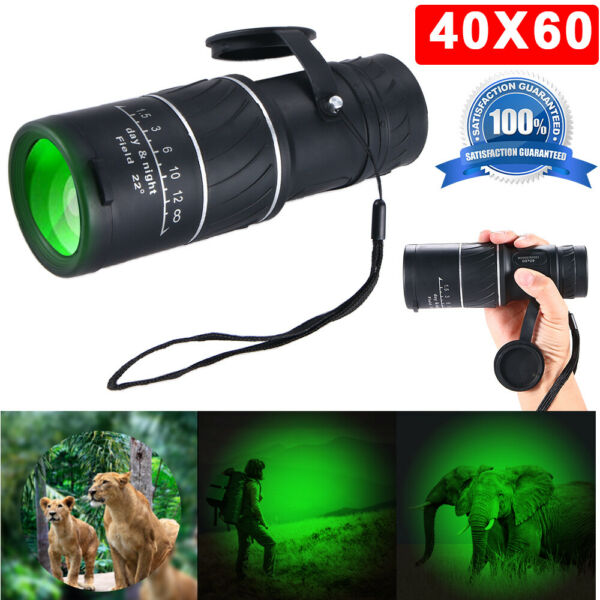 Day Night Vision 40X60 Optical Monocular Camping Telescope MetalRubber 6.4°