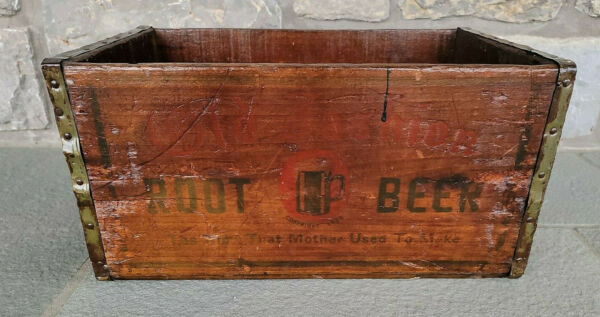 """RARE Antique Old Fashion Root Beer Wooden Crate Soda Advertising Ma's VTG 19""""x12"""