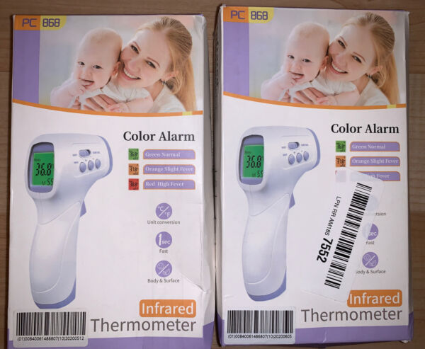 LOT 2 Infrared Thermometer Touchless Non Contact PC868 Adult Kids Fever Color