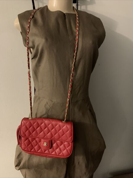 Jay Herbert Leather Red Quilted Gold Chain Small Bag $39.99