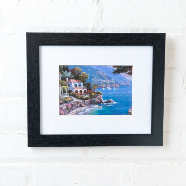 Black Wood Picture Frame or Poster Frame with Mat or without Mat