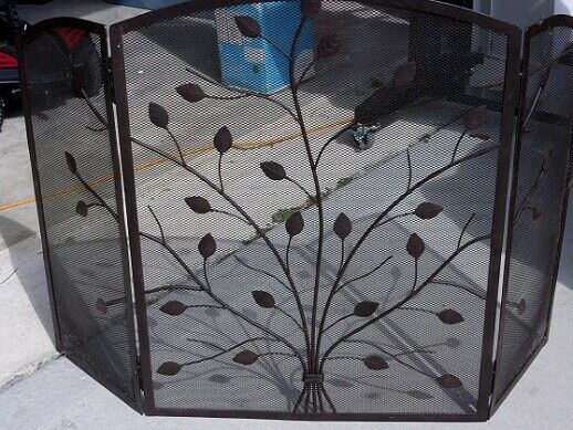 Tri fold Black Fireplace Screen with Vines amp; Leaves 47 1 2quot; wide x 30 1 2quot; high