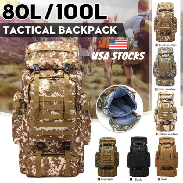 100L Outdoor Military Camping Backpack Rucksacks Shoulder Tactical Hiking Travel