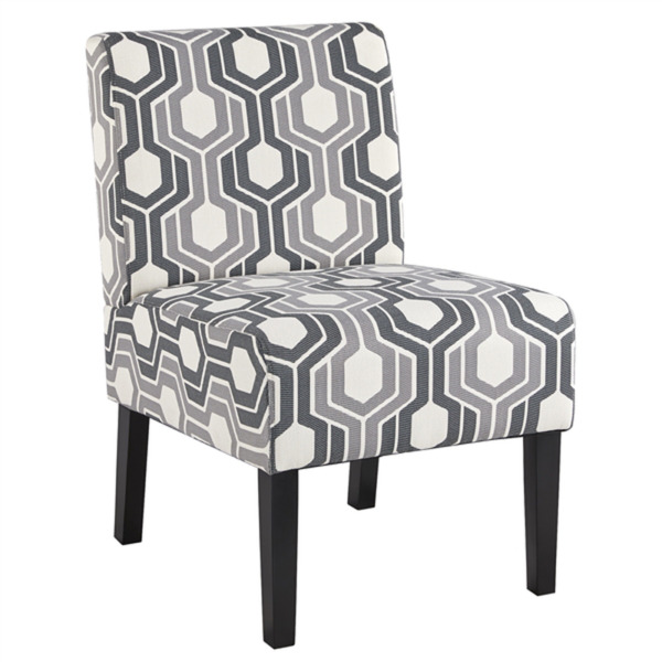 SmileMart Upholstered Geometric Gray Accent Chair for Living Room