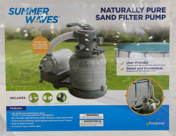 Summer Waves Polygroup 1400 GPH Pool 10quot; Sand Filter Pump *BRAND NEW SEALED* $266.97