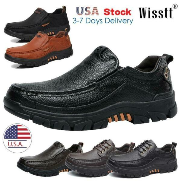 Men#x27;s Classic Outdoor Leather Non Slip Lightweight Loafers Shoes Hiking Casual W $33.99