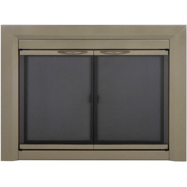 Fireplace Doors Small Tinted Glass Cabinet Style Surface Mount Design in Nickel