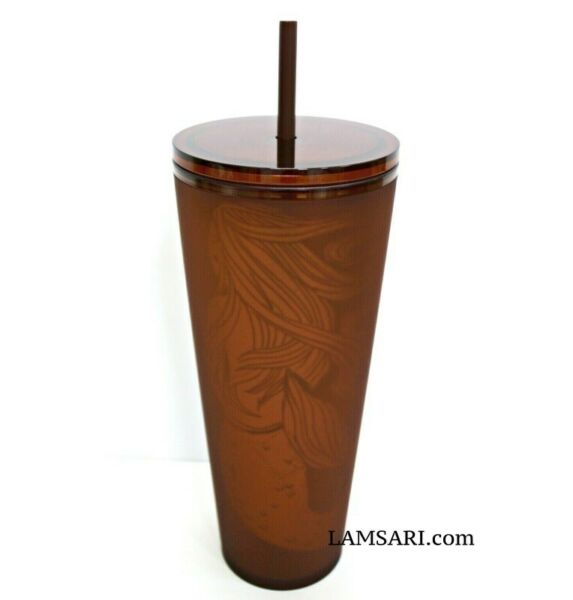 Starbucks Pike Place Amber Siren Soft Touch Plastic Cold Cup Tumbler 24 oz