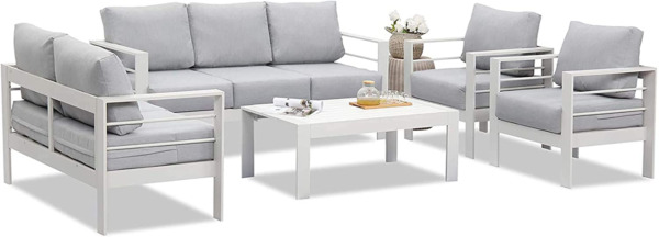 Wisteria Lane Outdoor Patio Furniture Sets Aluminum Sectional Sofa White Metal $2048.99