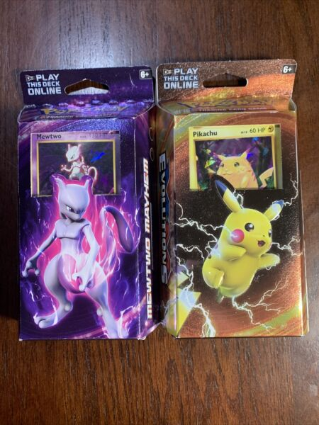 Pokemon XY Evolutions Pikachu Power and Mewtwo Mayhem Lot of 2 Theme Decks NEW