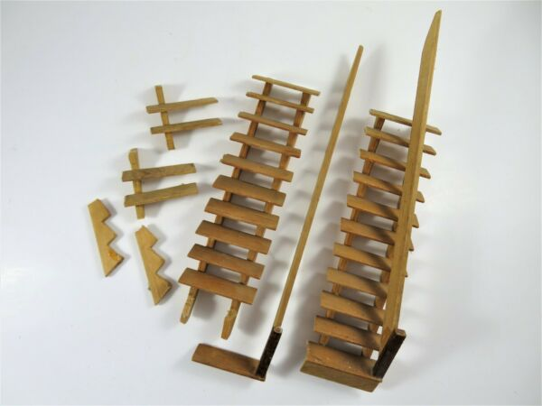 Vintage Wood Dollhouse Stairs For Repair Parts Salvaged Pieces With Railings