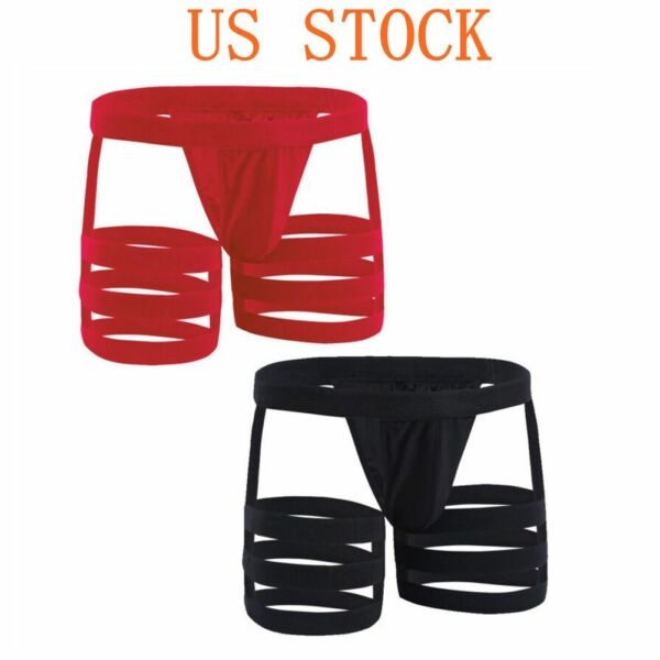 Men Open Butt Briefs Hollow Out Jockstrap Boxers Garters Underpants Sexy Trunks