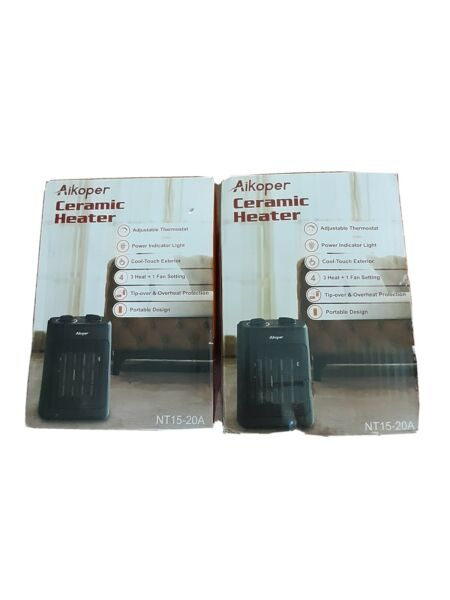 2 Two Space Heater 1500W Electric Heaters Indoor Portable with Thermostat