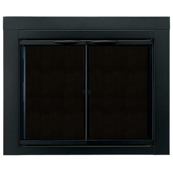 Fireplace Doors Medium Tempered Clear Glass Cabinet Style Classic Black Finish