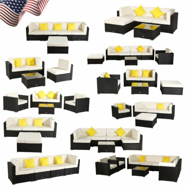 Oshion Patio Wicker Outdoor Furniture Sofa Set Garden Couch Ottoman Black Beige $635.95