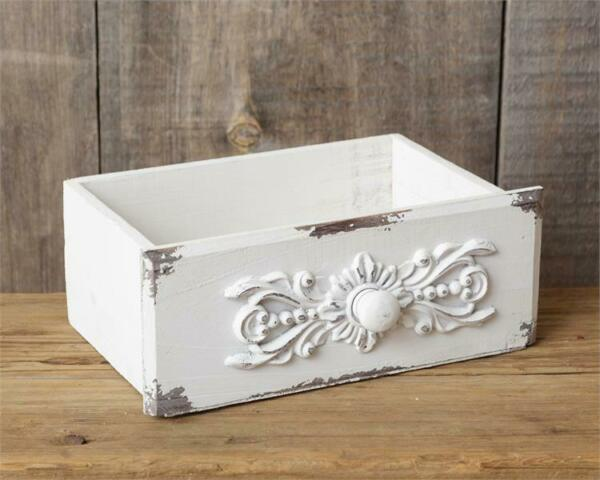 New French Country Shabby Chic AGED WHITE WOODEN BOX Drawer Organizer Basket $11.95
