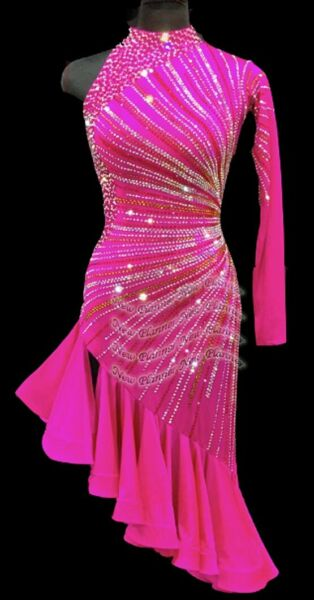 L2195 ballroom Specialty Adult Rhythm Latin samba dance dress UK10 US 8 pink