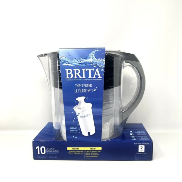 Brita Water Pitcher with 1 Filter Large 10 Cup Black