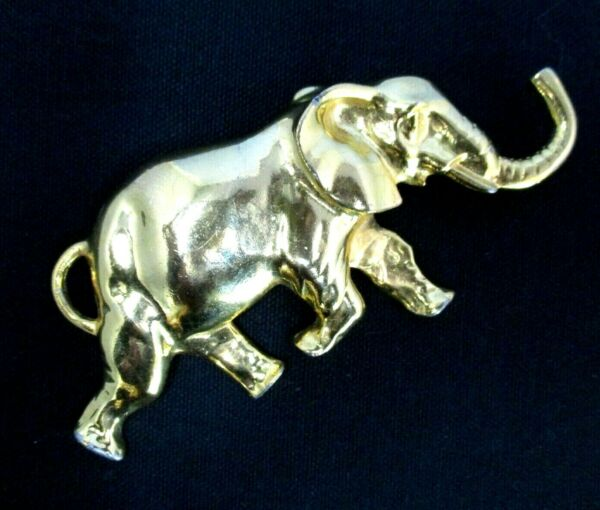 Elephant Belt Buckle Large Gold Vintage Statement 80s 90s trunk up 5in running $18.70