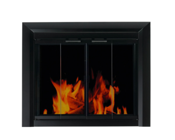 Pleasant Hearth CM 3010 Small Fireplace Screen with Bi Fold Smoked Glass Doors