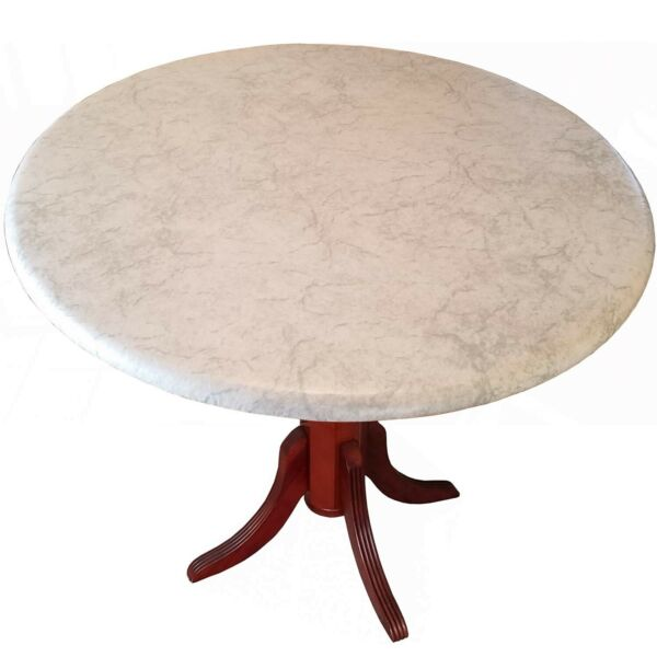 Table Cloth Round 36quot; to 48quot; Elastic Edge Fitted Vinyl Table Cover Classic Wh...