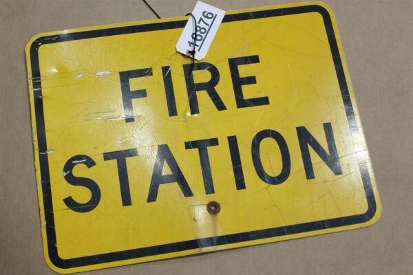 Authentic FIRE STATION Road Sign Real Street Vintage Retired Highway 24quot;x18quot;