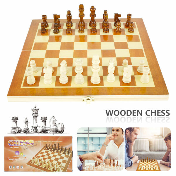 Chess Set Vintage Board Wooden Box Pieces Wood Game Carved Folding Complete $13.79
