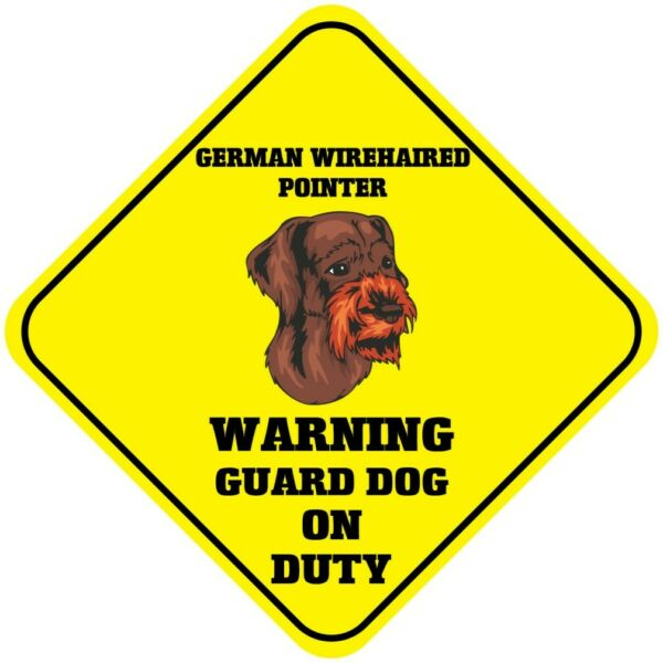 Crossing Sign German Wirehaired Pointer Warning Guard Dog Duty Cross Xing Metal $17.99