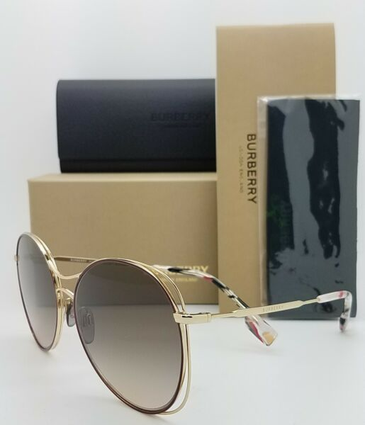 NEW Burberry Sunglasses BE3105 101713 60mm Gold Brown Gradient AUTHENTIC Round $152.95