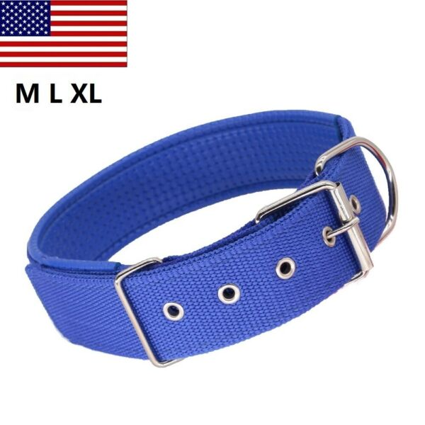Large Nylon Dog Collar Heavy Duty Strong with Metal Buckle Soft Padded Collar $7.99