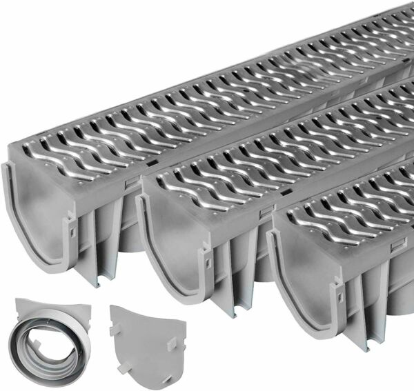 Source 1 Drainage Trench and Driveway Channel Drain with Galvanized Steel Grate