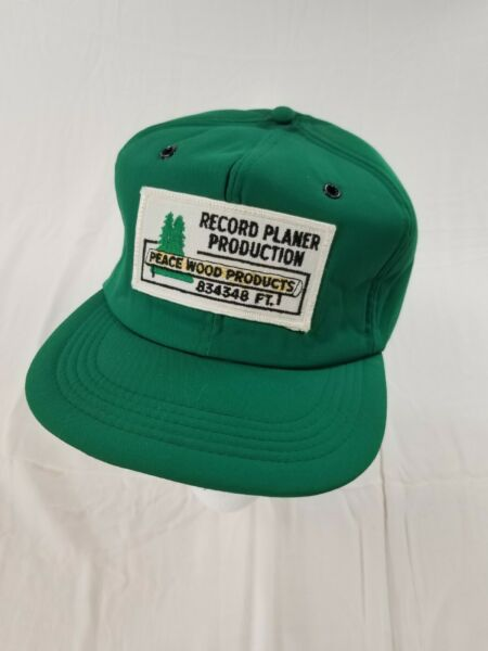 RECORD PLANER PRODUCTION PEACE WOOD Cap Trucker Hat Snapback FORESTRY VTG 80s $23.99