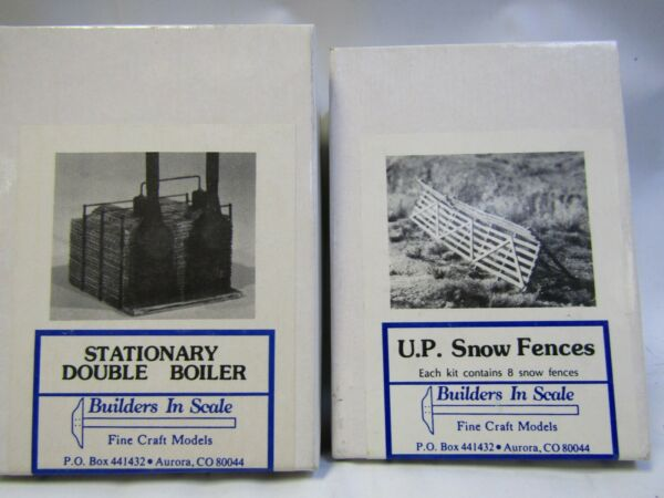BUILDERS IN SCALE HO KITS # 607 STATIONARY DOUBLE BOILER 608 UP SNOW FENCES $29.99