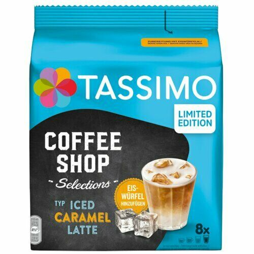 TASSIMO Coffee shop: ICED Caramel Latte Coffee Pods 8 pods FREE SHIPPING