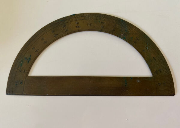 Vintage Small Brass 1 2 Circle Protractor E. D. Co Made in Germany