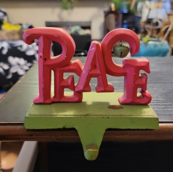 Peace Mantle Stocking Holder Fireplace Metal