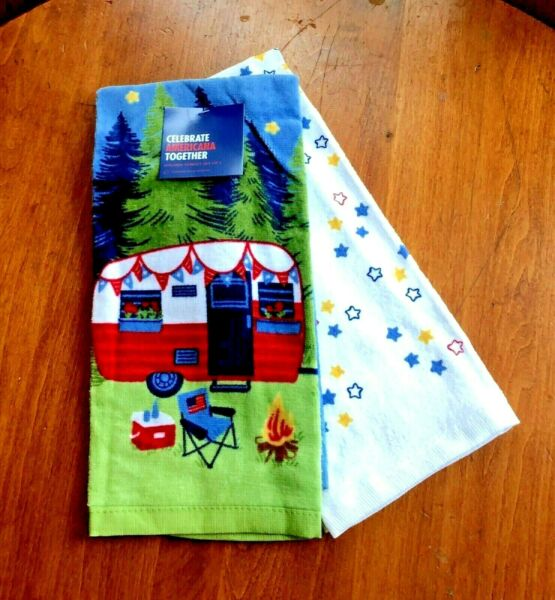 Nostalgic Camper and Camp Fire Summer Kitchen Towel Set of 2 NEW With Tags